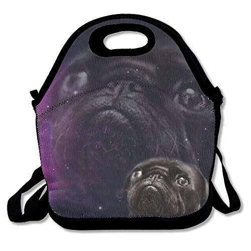 Neoprene Lunch Tote - Pug In Space Waterproof Reusable Lunch Bags Boxes For Men Women Adults Kids Toddler Nurses With Adjustable Shoulder Strap - Best Travel Bag