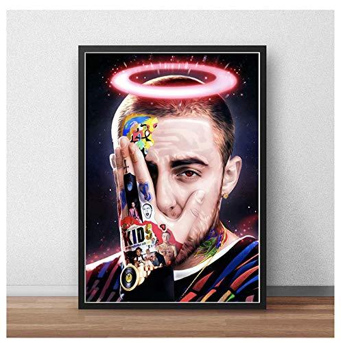 nr affiche en afdrukken Mac Miller Hip-Hop Engel Rapper Star Anime Album canvas schilderij kunst wandschilderij-50x70cmx1 frameloos