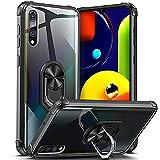 DOSNTO für Samsung Galaxy A50//A50S/A30S Hülle, Silikon TPU Slim Hülle mit 360 Grad Ring Ständer Handyhülle [Verstärkter Fallschutz] Magnetische Autohalterung Transparent Schutzhülle, Schwarz