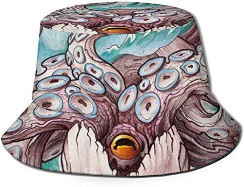 BONRI Chapeaux de Seau Respirants à Dessus Plat Unisexe Motif de Perroquet Chapeau de Seau Chapeau de pêcheur d'été-Pieuvre crâne-Taille Unique