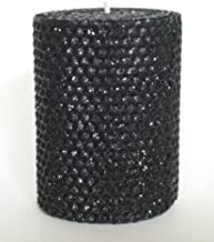 Gold Rush 50 Hour-4 Inch Natural Beeswax Hybrid Pillar Glitter Candle, Black Onyx Color