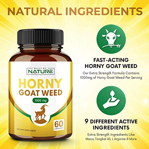 Horny Goat Weed Supplement for Men and Women, Natural Libido Support, 60 Capsules (30 Day Supply)