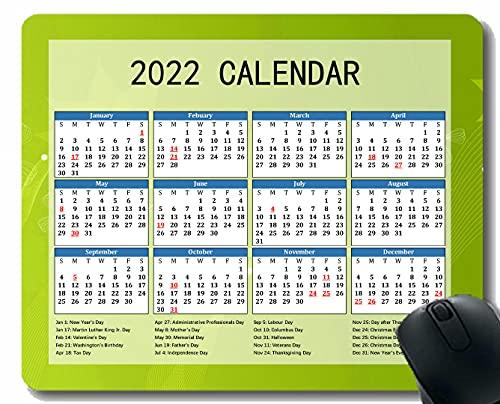 2022 Calendario Alfombrilla De Ratón con Vacaciones, Luz Glare Smudges Brillante Cuaderno de Escritorio Alfombrilla De Ratón para Trabajar y Juegos