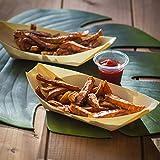 50 x Snackschalen natur 22cm   100% kompostierbar   edel & dekorativ   Bio Einweg-Geschirr   Einwegschalen perfekt für Finger-Food   Party-Geschirr Holzschiffchen - 2
