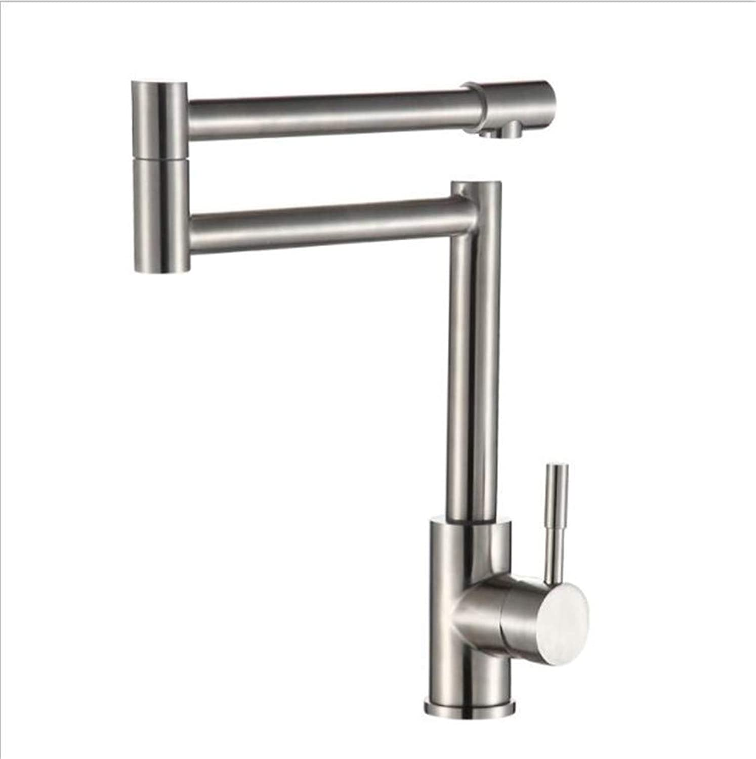 Bathroom Sink Basin Lever Mixer Tap Sus304 Stainless Steel Kitchen Universal Faucet Folding Pipe Deformation Pipe Multidirectional Head