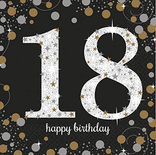 Amscan 9900556 - Servietten 18. Geburtstag, 16 Stück, 33 x 33 cm, Happy Birthday, Sparkling Celebration