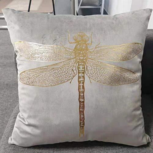 Impresi¨n de l¨¢Mina de Insectos Funda de coj¨ªn de lib¨¦Lula de Terciopelo Cuadrado Funda de Almohada Estampada en Oro Shiny-Light Grey, 43x43cm, China