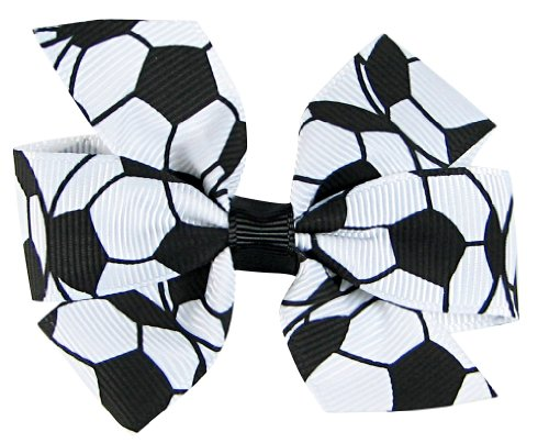 """HipGirl 2pc 3"""" Sports Bows Hair Clips, Soccer for Girls Soccer Ribbon/Softball Ribbon Soccer Hair Bow Hair Clips, Soccer Bow/Softball Bow (Soccer Accessories, Soccer Gifts for Girls-Black and White)"""