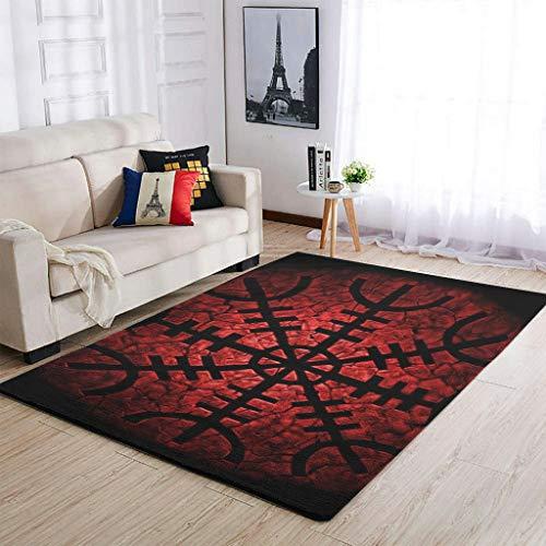 Banniyouall Wikinger-Teppich für den Innenbereich, Vintage-Stil, weich, für Schlafzimmer, Wohnzimmer, Kinderzimmer, Heimdekoration, weiß, 122 x 183 cm