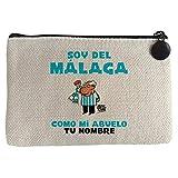 Diver Bebé Monedero soy del Málaga como mi abuelo personalizable con nombre ilustrado por Jorge Crespo Cano - Beige, 15 x 10 cm