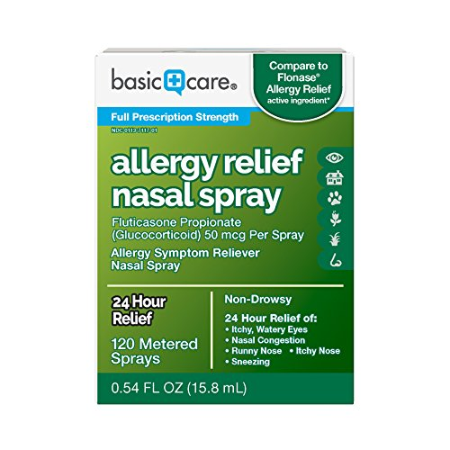 Basic Care 24-Hour Allergy Relief Nasal Spray, 120 Metered Sprays, 0.54 Fluid Ounces