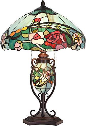 Bieye L30738 Lámpara de mesa con vitrales estilo Tiffany con flor rosa y base iluminada con pantalla de 16 pulgadas de ancho, 24 pulgadas de alto