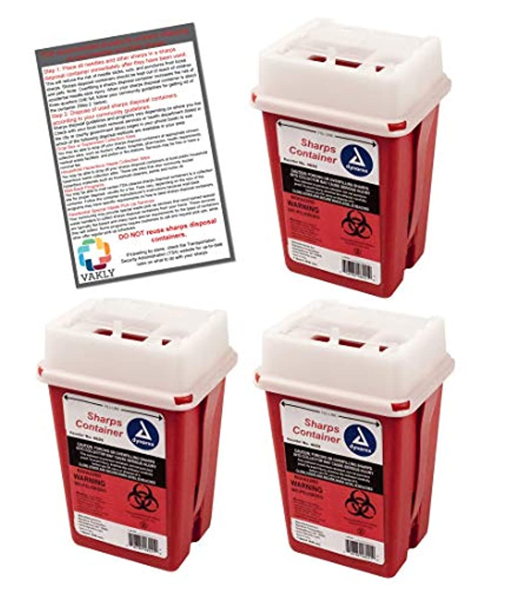 Sharps Container 1 Quart - Plus Vakly Biohazard Disposal Guide (3 Pack)
