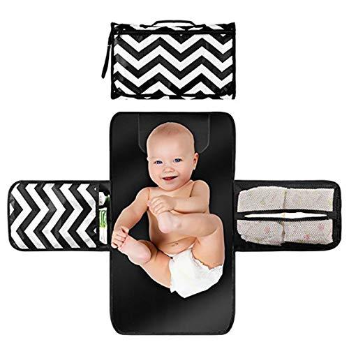 puseky Cambiador portátil 2 en 1 para recién nacido, bebé, viaje a casa, cambiador de pañales con bolsillos, impermeable y plegable, bolsa de almacenamiento