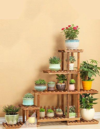 WEBO HOME- Étagère antistatique à fleurs en bois massif, balcon, salon en bois à plusieurs étages, étagère à fleurs -Étagère (style : B)