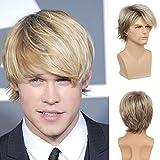 Mens Blonde Wig Short Layered Natural...