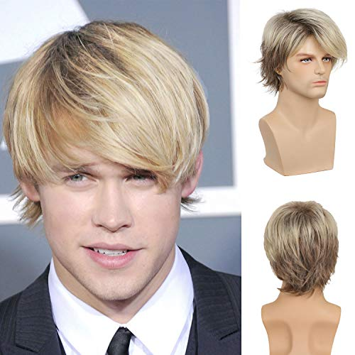 Mens Blonde Wig Short Layered Natural Synthetic Heat Resistant Wigs Halloween Cosplay Costume Halloween Wig with Wig Cap