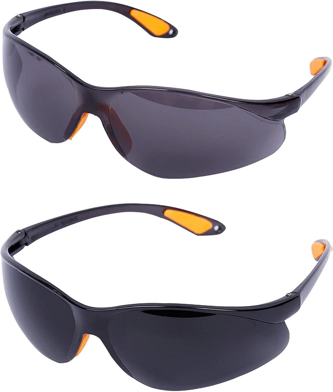 DOCX Gafas de seguridad, gafas para adultos, gafas de protección ocular ligeras, cómodas gafas de sol de seguridad tintadas para el trabajo, ciclismo, laboratorio, etc, paquete de 2, gris, negro