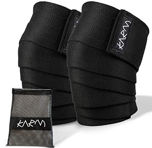 Knee Wraps for Weightlifting with Bag (Pair) - Knee Wraps for Squatting &...