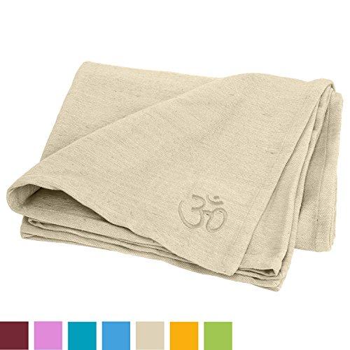 Bodhi Yogadecke SHAVASANA,100% Baumwolle, mit OM-Stick grob gewebt & robust, Tagesdecke, Sofadecke (natur-weiß)