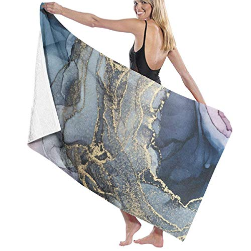 Yaxinduobao Blush Paynes Gray and Gold Metallic Abstract Soft Toalla de baño Highly Absorbent Multipurpose Towels Oversized Toalla de Playa for Travel Bathroom Hotel Gym SPA 31'x 51'