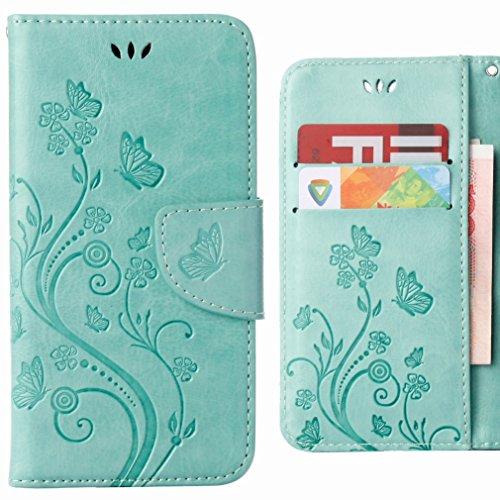 Ougger Handyhülle für Asus Zenfone Go ZB500KL Hülle Tasche, Schmetterling BriefHülle Tasche Schale Schutzhülle PU Leder Weich Magnetisch Silikon Flip Cover mit Kartenslot (Grün)