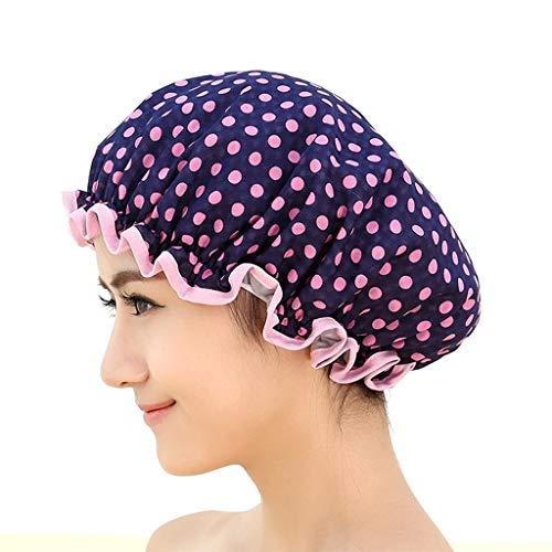 Rameng- Bonnet de Douche Imperméable Cheveux Accessoire Réutilisable Motif Pois Élastique Spa Douche