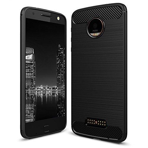 Handyhülle Schale für Motorola Moto G4 / G4 Plus | SCHWARZ | Carbonfibre Cover Schutzhülle | TPU Silikon Weich Tasche | Armor Schutz Hülle Handy