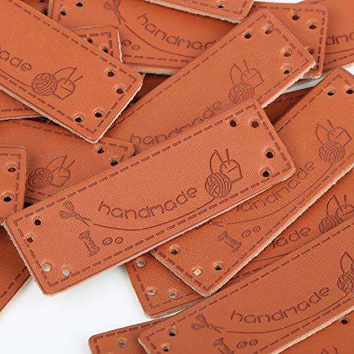 VINFUTUR 100pcs Etiquetas Handmade Cuero Etiquetas Personalizadas Hechas a Mano con Agujeros para Costura Tejido Manualidad Artesanía DIY