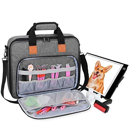 Luxja Tragetasche für A4 Licht Pad und Diamond Painting Werkzeug, Tasche für Diamant Malerei Leuchtkästen und Zubehör (Passend für A4 Licht Pad), Grau
