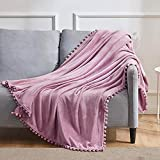 BEAUTEX Fleece Throw Blanket with Pompom Fringe, Dustypink Flannel Blankets and Throws for Couch, Super Soft Cozy Lightweight Plush Throw Blanket (50' x 60')