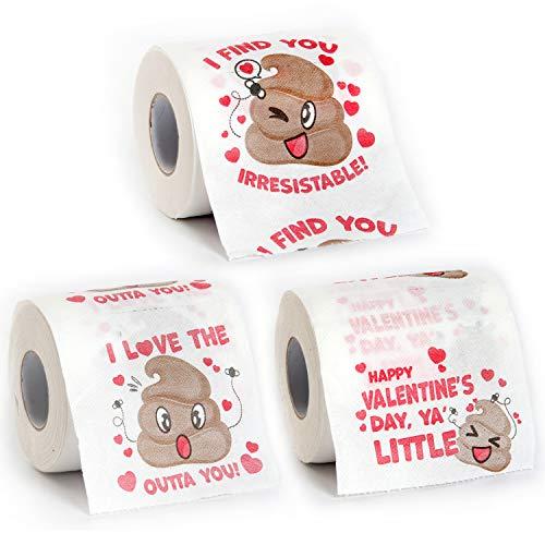 JOYIN 3 Rolls Valentines Day Poop Emoji Toilet Paper 200 Sheets Novelty...