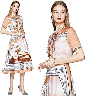 women's clothes floral casual dresses Retro A-line Fashion contrast dress-فستان نسائى