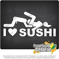 Kiwistar 私は寿司を愛する I Love Sushi 18cm x 8,5cm 15色 - ネオン+クロム! ステッカービニールオートバイ