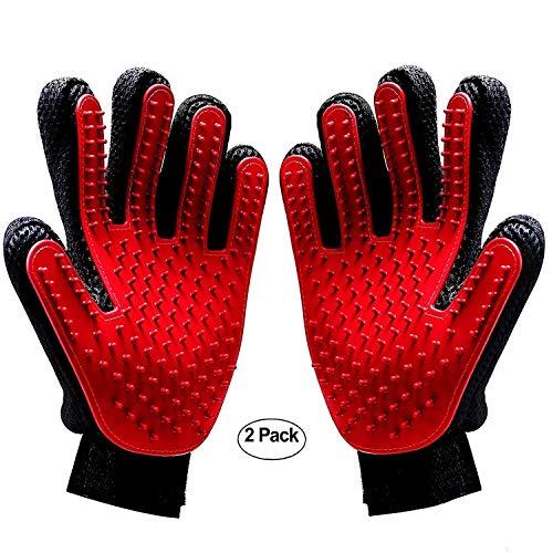 DAOXU 2PCS Pet Bürste Handschuh,Tierhaar Handschuh Fingerhandschuhe Bürste Haarentferner Fellpflegehandschuh Gummi für Hund Katze Fellpflege (Rot)