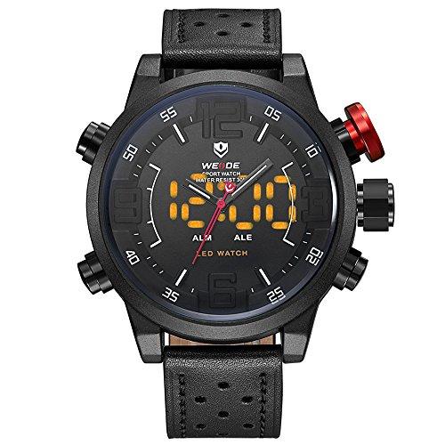 WEIDE WH5210 Pantalla Doble Reloj Digital de Cuarzo de Dos Movimientos Reloj para Hombre 3ATM Luz de Fondo LED a Prueba de Agua Zona horaria Dual Semana Alarma Mes Calendario Fecha Reloj Deportivo de