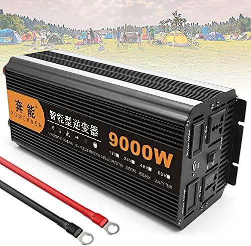 Inversor de energía de onda sinusoidal pura 3200W 4000W 5000W 6000W 8000W 9000W 12000W 15000W Convertidor DC 12V / 24V a 220V 230V 240V Inversor de salidas de CA con puerto USB para viajes, 12V-9000W