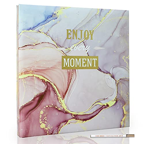 Holoary Photo Album Self Adhesive 4x6 5x7 3x5 8x10 Scrapbook Magnetic Self-Stick Page Hand Made DIY Scrap Book Album, Printed Book Cover Marble Design with A Metallic Pen