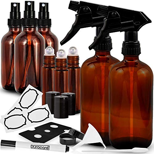 Duracare Amber Glass Spray Bottles 2 (16oz) Trigger Sprayers w/ Screw Cap, 3(2oz) Mist Sprayers, 3 (10ml) Stainless Steel Roller Bottles w/ Labels and Washable Marker, Cap, Dropper and Funnel-BPA-free
