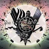 KDBWYC Reloj de Pared con brújula vikinga, Reloj Colgante Vintage con Registro de Vinilo, Relojes de Pared misteriosos nórdicos mágicos, decoración artística de Pared para Sala de Estar