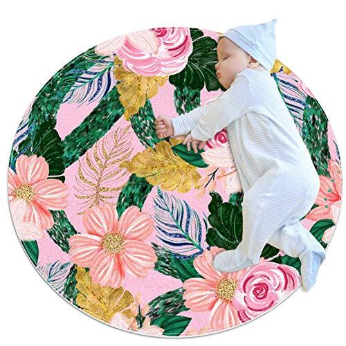Flores rosas hojas doradas esteras de arrastre esteras, alfombras antideslizantes para el piso, esteras infantiles de juegos de niños, alfombras de juegos infantiles, esteras de juegos infanti