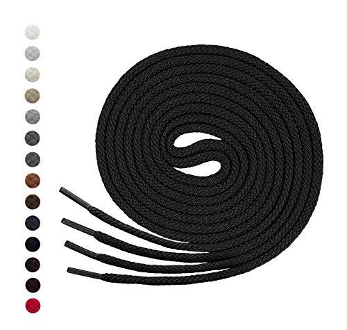Lenzen 3 Pares Cordones Redondos para Zapatos, Zapatillas de Deporte y Botas I Hecho en Alemania (120 cm, negro)