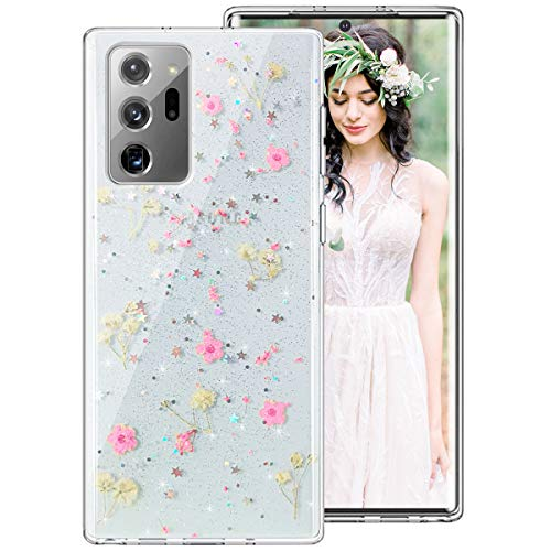 Galaxy Note 20 Ultra Case for Women Girls, iDLike Clear Glitter Pressed Dried Real Floral Flower Cute Design Soft Silicone Protective Phone Case Cover for Samsung Galaxy Note 20+ Ultra Plus,Pink