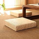 Monnadu Tatami - Cojín decorativo de pajita para sentarse, diseño cuadrado, estilo japonés, para yoga, té, ceremonia, meditación, decoración del hogar, 40 x 40 cm