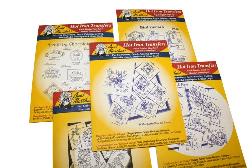 Aunt Martha's Iron On Transfer Patterns for Stitching, Embroidery or Fabric Painting, Days of the Week Patterns, Set of 5