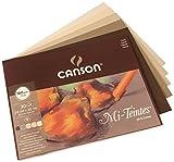 Canson 400030144 Mi-Teintes farbiges Zeichenpapier, 24 x 32 cm, 5 Farben sortiert, Erd-Töne