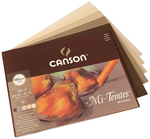 Canson Mi-Teintes - papel de dibujo coloreado, 24 x 32 cm, 5 colores surtidos, tonos tierra