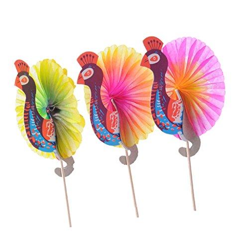 Cocktail Papier Schirmchen, Cocktailschirmchen, Papierschirmchen Dekoschirmchen Cocktail Party Deko Papier Schirm Schirmchen, 2 Muster zum Auswahlen - Pfau, 25pcs/Set