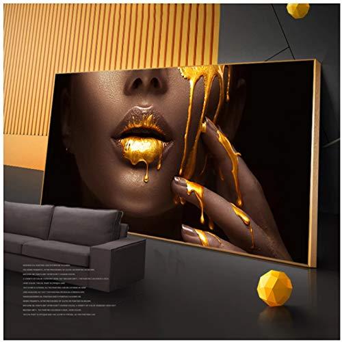 Carteles e impresiones de arte moderno de labios dorados de gran tamaño, pinturas artísticas de mujer africana en la pared, cuadros de lienzo de mujer negra