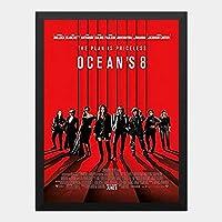 ハンギングペインティング - オーシャンズ 8 OCEANS 8 2のポスター 黒フォトフレーム、ファッション絵画、壁飾り、家族壁画装飾 サイズ:33x24cm(額縁を送る)